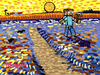 Cartoon: Minecraft sower (small) by Munguia tagged the,sower,arles,van,gogh,millet,minecraft,video,game,parody,munguia