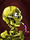 Cartoon: Party Skeleton (small) by Munguia tagged skeleton,with,cigarrette,cigar,smoking,skull,painting,horror,famous,van,gogh,vincent,parody