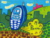 Cartoon: phone fart (small) by Munguia tagged phone,fart,munguia,cell,movil,walker,character,tech