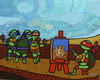 Cartoon: Rafael painting the 3 Gracies (small) by Munguia tagged teenage,mutant,ninja,turtles,super,heroes,graces,rafael,parody,painting
