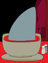 Cartoon: shark soup (small) by Munguia tagged shark,soup,caveman,cavemen,waitress,movie,restaurant,death,deadjaws,primitive,stone,age