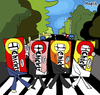 Cartoon: The Chiclets (small) by Munguia tagged abbey road the beatles cliclets adams bubble gum goma de mascar mind parody cover album calcamunguias