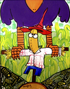 Cartoon: the crow scare scare crow (small) by Munguia tagged colibri,phone,card,tarjeta,telefonica,pre,pago,munguia,calcamunguias,scarecrow,crow,espantapajaros,maiz,corn