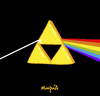 Cartoon: The dark side of the Triforce (small) by Munguia tagged triforce link zelda pink floyd nintendo album cover parody parodies
