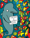 Cartoon: The Message (small) by Munguia tagged dolphin end is near coming soon apocallipsis ocean
