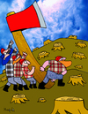 Cartoon: The rise of the axe (small) by Munguia tagged munguia,sad,iwo,jima,bad,wrong,axe,lumberjack,lumber,woods,tree,costa,rica,cartoon,caricatura,humor,grafico,calcamunguias,parody,parodies,rise,of,the,flag
