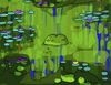 Cartoon: The Swamp Thing (small) by Munguia tagged claude,monet,nenufares,lilies,parody,munguia,monster