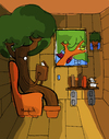 Cartoon: The Tree House (small) by Munguia tagged tree,house,literal,munguia,costa,rica