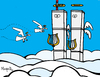 Cartoon: Twin Towers in heaven (small) by Munguia tagged september11,911,twin,towers,new,york,terror,usa,2001,heaven,angels,death