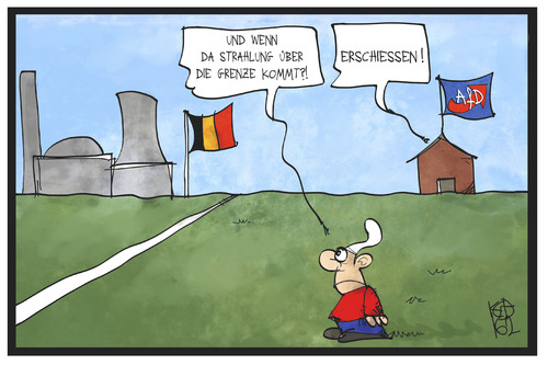 Cartoon: Belgische AKW (medium) by Kostas Koufogiorgos tagged karikatur,koufogiorgos,illustration,cartoon,belgien,panne,akw,atomkraft,werk,grenze,michel,deutschland,afd,schiessen,strahlung,radioaktvität,karikatur,koufogiorgos,illustration,cartoon,belgien,panne,akw,atomkraft,werk,grenze,michel,deutschland,afd,schiessen,strahlung,radioaktvität