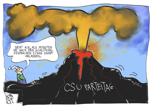 Cartoon: CSU-Parteitag (medium) by Kostas Koufogiorgos tagged cscsu,parteitag,bayern,vulkan,michel,koalitionsverhandlung,karikatur,koufogiorgos,cscsu,parteitag,bayern,vulkan,michel,koalitionsverhandlung,karikatur,koufogiorgos