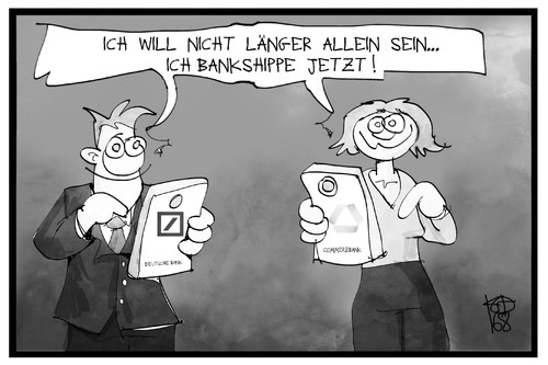 Cartoon: Deutsche Bank und Commerzbank (medium) by Kostas Koufogiorgos tagged karikatur,koufogiorgos,illustration,cartoon,deutsche,bank,commerzbank,fusion,flirt,wirtschaft,annäherung,karikatur,koufogiorgos,illustration,cartoon,deutsche,bank,commerzbank,fusion,flirt,wirtschaft,annäherung