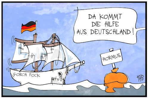 Cartoon: Deutsche Marine hift (medium) by Kostas Koufogiorgos tagged karikatur,koufogiorgos,illustration,cartoon,marine,gorch,fock,bundeswehr,hormus,rüstungsmaengel,iran,karikatur,koufogiorgos,illustration,cartoon,marine,gorch,fock,bundeswehr,hormus,rüstungsmaengel,iran