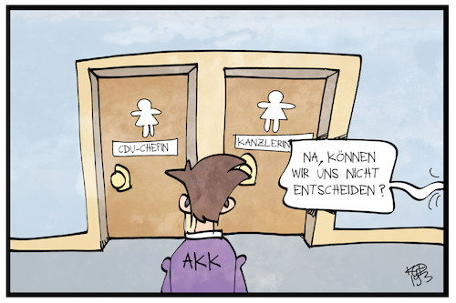 Cartoon: Die AKK-Frage (medium) by Kostas Koufogiorgos tagged karikatur,koufogiorgos,illustration,cartoon,akk,kanzlerin,chefin,cdu,toilette,witz,entscheidung,gender,karikatur,koufogiorgos,illustration,cartoon,akk,kanzlerin,chefin,cdu,toilette,witz,entscheidung,gender