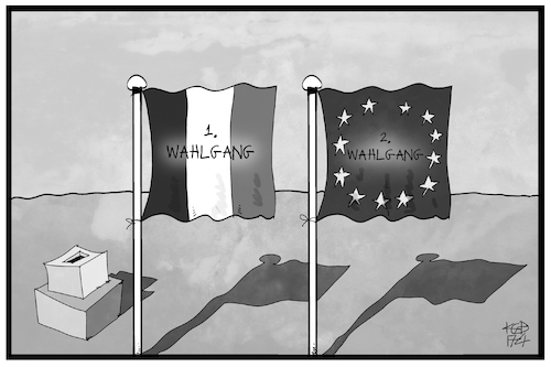 Cartoon: Frankreich-Wahl (medium) by Kostas Koufogiorgos tagged karikatur,koufogiorgos,illustration,cartoon,frankreich,fahne,flagge,wahl,europa,wahlgang,demokratie,zukunft,prognose,karikatur,koufogiorgos,illustration,cartoon,frankreich,fahne,flagge,wahl,europa,wahlgang,demokratie,zukunft,prognose
