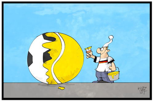Cartoon: Fußball oder Tennis (medium) by Kostas Koufogiorgos tagged karikatur,koufogiorgos,illustration,cartoon,tennis,fussball,ball,anstreichen,wechsel,fan,kerber,wimbledon,sieg,wm,sport,michel,karikatur,koufogiorgos,illustration,cartoon,tennis,fussball,ball,anstreichen,wechsel,fan,kerber,wimbledon,sieg,wm,sport,michel