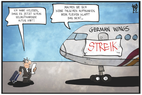 Cartoon: German Wings (medium) by Kostas Koufogiorgos tagged karikatur,koufogiorgos,illustration,cartoon,germanwings,lufthansa,flugzeug,streik,passagier,kunde,arbeitskampf,pilot,karikatur,koufogiorgos,illustration,cartoon,germanwings,lufthansa,flugzeug,streik,passagier,kunde,arbeitskampf,pilot
