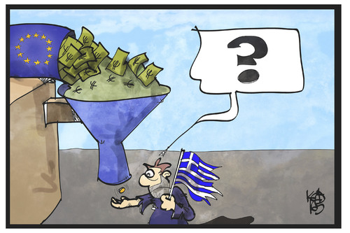 Cartoon: Griechenland-Hilfe (medium) by Kostas Koufogiorgos tagged karikatur,koufogiorgos,illustration,cartoon,griechenland,hilfe,troika,eu,europa,kredit,hilfspaket,ausschüttung,bürger,banknote,münze,karikatur,koufogiorgos,illustration,cartoon,griechenland,hilfe,troika,eu,europa,kredit,hilfspaket,ausschüttung,bürger,banknote,münze