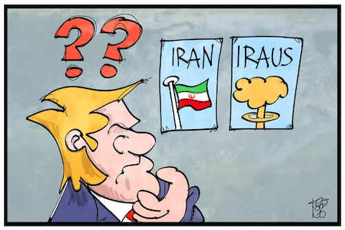 Cartoon: Iran Iraus (medium) by Kostas Koufogiorgos tagged karikatur,koufogiorgos,illustration,cartoon,iran,iraus,trump,krieg,konflikt,angriff,karikatur,koufogiorgos,illustration,cartoon,iran,iraus,trump,krieg,konflikt,angriff