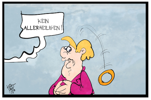 Cartoon: Kein Allerheiligen in Berlin (medium) by Kostas Koufogiorgos tagged karikatur,koufogiorgos,illustration,cartoon,allerheiligen,feiertag,heiligenschein,merkel,vorsitz,politik,bundeskanzlerin,karikatur,koufogiorgos,illustration,cartoon,allerheiligen,feiertag,heiligenschein,merkel,vorsitz,politik,bundeskanzlerin
