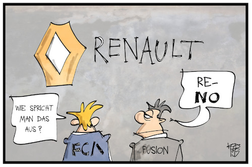 Cartoon: LCA-Renault (medium) by Kostas Koufogiorgos tagged karikatur,koufogiorgos,illustration,cartoon,lca,renault,automobil,fusion,chrysler,fiat,nissan,logo,wirtschaft,karikatur,koufogiorgos,illustration,cartoon,lca,renault,automobil,fusion,chrysler,fiat,nissan,logo,wirtschaft