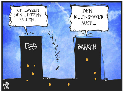 Cartoon: Leitzinssenkung (medium) by Kostas Koufogiorgos tagged karikatur,koufogiorgos,illustration,cartoon,ezb,bank,leitzins,zinsen,kleinsparer,geld,wirtschaft,selbstmord,zinspolitik,europa,zentralbank,frankfurt,karikatur,koufogiorgos,illustration,cartoon,ezb,bank,leitzins,zinsen,kleinsparer,geld,wirtschaft,selbstmord,zinspolitik,europa,zentralbank,frankfurt