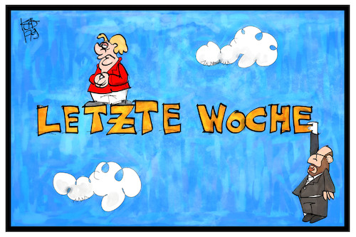 Cartoon: Letzte Woche (medium) by Kostas Koufogiorgos tagged karikatur,koufogiorgos,illustration,cartoon,bundestagswahl,merkel,schulz,kanzlerkandidat,hängepartie,wahl,endspurt,demokratie,politik,karikatur,koufogiorgos,illustration,cartoon,bundestagswahl,merkel,schulz,kanzlerkandidat,hängepartie,wahl,endspurt,demokratie,politik