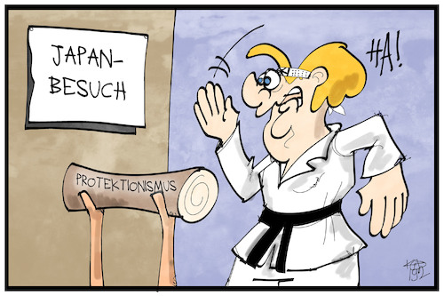 Cartoon: Merkel in Japan (medium) by Kostas Koufogiorgos tagged karikatur,koufogiorgos,illustration,cartoon,merkel,japan,kampf,protektionismus,freihandel,wirtschaft,karate,kampfsport,karikatur,koufogiorgos,illustration,cartoon,merkel,japan,kampf,protektionismus,freihandel,wirtschaft,karate,kampfsport