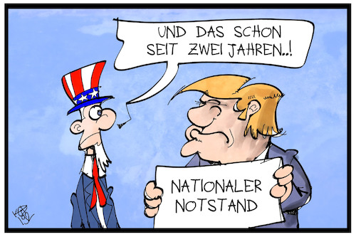 Cartoon: Notstand USA (medium) by Kostas Koufogiorgos tagged karikatur,koufogiorgos,illustration,cartoon,nationaler,notstand,trump,usa,uncle,sam,karikatur,koufogiorgos,illustration,cartoon,nationaler,notstand,trump,usa,uncle,sam