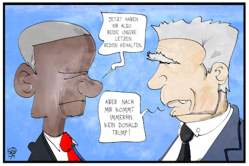Cartoon: Obama und Gauck (medium) by Kostas Koufogiorgos tagged karikatur,koufogiorgos,illustration,cartoon,obama,gauck,präsident,usa,deutschland,trump,rede,abschied,demokratie,politik,karikatur,koufogiorgos,illustration,cartoon,obama,gauck,präsident,usa,deutschland,trump,rede,abschied,demokratie,politik