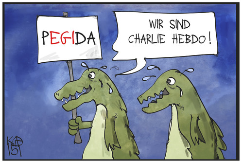 Cartoon: PEGIDA (medium) by Kostas Koufogiorgos tagged karikatur,koufogiorgos,illustration,cartoon,charlie,hebdo,pegida,krokodil,krokodilstränen,demonstration,populismus,politik,karikatur,koufogiorgos,illustration,cartoon,charlie,hebdo,pegida,krokodil,krokodilstränen,demonstration,populismus,politik