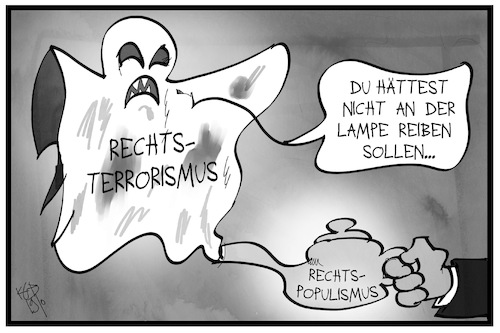Cartoon: Rechtsterrorismus (medium) by Kostas Koufogiorgos tagged karikatur,koufogiorgos,illustration,cartoon,rechtsterrorismus,rechtspopulismus,wunderlampe,aladdin,märchen,legende,geist,karikatur,koufogiorgos,illustration,cartoon,rechtsterrorismus,rechtspopulismus,wunderlampe,aladdin,märchen,legende,geist
