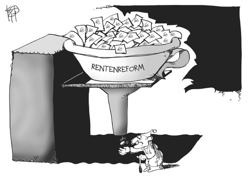 Cartoon: Rentenreform (medium) by Kostas Koufogiorgos tagged rentenreform,rentner,altersarmut,rente,geld,trichter,politik,arbeit,ruhestand,illustration,karikatur,cartoon,koufogiorgos,rentenreform,rentner,altersarmut,rente,geld,trichter,politik,arbeit,ruhestand,illustration,karikatur,cartoon,koufogiorgos