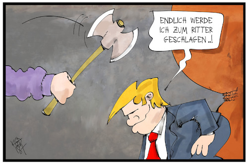Cartoon: Ritter Donald (medium) by Kostas Koufogiorgos tagged karikatur,koufogiorgos,illustration,cartoon,ritter,donald,trump,beil,schlagen,erschlagen,adel,besuch,queen,uk,staatsbesuch,karikatur,koufogiorgos,illustration,cartoon,ritter,donald,trump,beil,schlagen,erschlagen,adel,besuch,queen,uk,staatsbesuch
