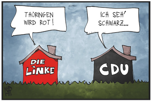 Cartoon: Rot und Schwarz (medium) by Kostas Koufogiorgos tagged karikatur,koufogiorgos,illustration,cartoon,thüringen,rot,schwarz,linke,cdu,partei,politik,regierung,haus,karikatur,koufogiorgos,illustration,cartoon,thüringen,rot,schwarz,linke,cdu,partei,politik,regierung,haus