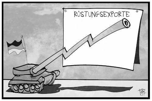 Cartoon: Rüstungsexporte (medium) by Kostas Koufogiorgos tagged karikatur,koufogiorgos,illustration,cartoon,ruestung,waffenexporte,panzer,gewinn,bilanz,wirtschaft,karikatur,koufogiorgos,illustration,cartoon,ruestung,waffenexporte,panzer,gewinn,bilanz,wirtschaft