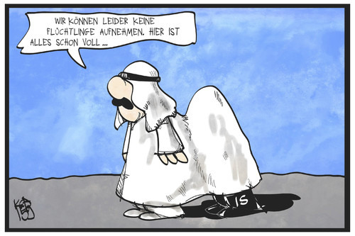 Cartoon: Saudi-Arabien und der IS (medium) by Kostas Koufogiorgos tagged karikatur,koufogiorgos,illustration,cartoon,saudi,arabien,is,islamischer,staat,flüchtlinge,aufnahme,solidarität,verstecken,flüchtlingskrise,terrorismus,karikatur,koufogiorgos,illustration,cartoon,saudi,arabien,is,islamischer,staat,flüchtlinge,aufnahme,solidarität,verstecken,flüchtlingskrise,terrorismus