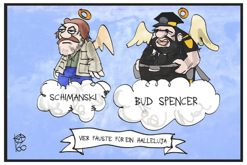 Cartoon: Schimanski und Bud Spencer (medium) by Kostas Koufogiorgos tagged karikatur,koufogiorgos,illustration,cartoon,götz,george,bud,spencer,carlo,pedersoli,schauspieler,filmrolle,schimanski,tatort,fäuste,halleluja,himmel,paradies,filmtitel,kult,karikatur,koufogiorgos,illustration,cartoon,götz,george,bud,spencer,carlo,pedersoli,schauspieler,filmrolle,schimanski,tatort,fäuste,halleluja,himmel,paradies,filmtitel,kult