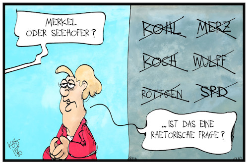 Cartoon: Seehofer oder Merkel? (medium) by Kostas Koufogiorgos tagged karikatur,koufogiorgos,illustration,cartoon,seehofer,merkel,frage,rhetorik,streichliste,politik,karikatur,koufogiorgos,illustration,cartoon,seehofer,merkel,frage,rhetorik,streichliste,politik