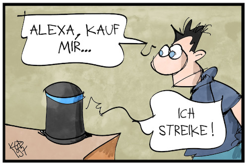 Cartoon: Streik bei Amazon (medium) by Kostas Koufogiorgos tagged karikatur,koufogiorgos,illustration,cartoon,amazon,alexa,streik,sprachassistent,arbeit,soziales,einzelhandel,kunde,handel,online,karikatur,koufogiorgos,illustration,cartoon,amazon,alexa,streik,sprachassistent,arbeit,soziales,einzelhandel,kunde,handel,online