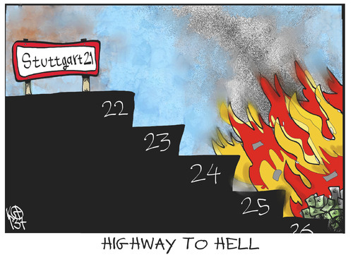 Cartoon: Stuttgart 22 (medium) by Kostas Koufogiorgos tagged stuttgart,21,s21,hölle,steuergeld,bahn,grossprojekt,karikatur,koufogiorgos,stuttgart,21,s21,hölle,steuergeld,bahn,grossprojekt,karikatur,koufogiorgos