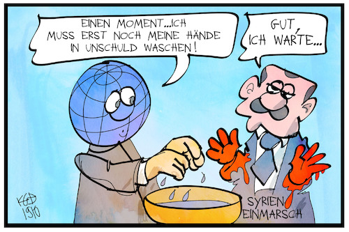 Cartoon: Syrien-Einmarsch (medium) by Kostas Koufogiorgos tagged karikatur,koufogiorgos,illustration,cartoon,syrien,erdogan,tuerkei,welt,pilatus,bibel,krieg,konflikt,kurden,karikatur,koufogiorgos,illustration,cartoon,syrien,erdogan,tuerkei,welt,pilatus,bibel,krieg,konflikt,kurden