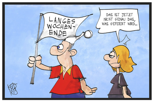 Cartoon: Tag des langen Wochenendes (medium) by Kostas Koufogiorgos tagged karikatur,koufogiorgos,illustration,cartoon,wochenende,tag,deutsche,einheit,deutschland,michel,fahne,flagge,feiertag,karikatur,koufogiorgos,illustration,cartoon,wochenende,tag,deutsche,einheit,deutschland,michel,fahne,flagge,feiertag