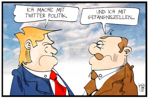 Cartoon: Trump und Ergogan (medium) by Kostas Koufogiorgos tagged karikatur,koufogiorgos,illustration,cartoon,trump,erdogan,twitter,gefängnis,zelle,internet,medien,usa,tuerkei,politik,karikatur,koufogiorgos,illustration,cartoon,trump,erdogan,twitter,gefängnis,zelle,internet,medien,usa,tuerkei,politik