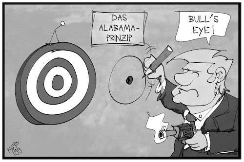 Cartoon: Trumps Alabama-Prinzip (medium) by Kostas Koufogiorgos tagged karikatur,koufogiorgos,illustration,cartoon,trump,alabama,dorian,zielscheibe,bullseye,treffer,betrug,illusion,usa,karikatur,koufogiorgos,illustration,cartoon,trump,alabama,dorian,zielscheibe,bullseye,treffer,betrug,illusion,usa