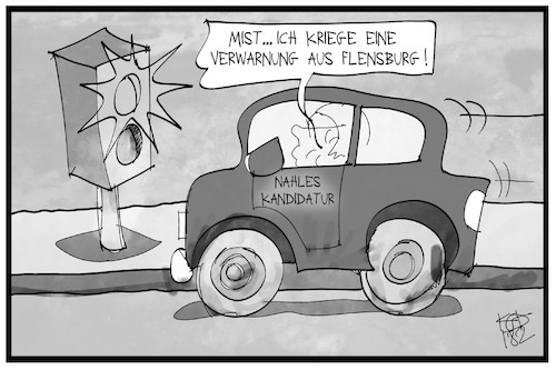 Cartoon: Verwarnung aus Flensburg (medium) by Kostas Koufogiorgos tagged karikatur,koufogiorgos,illustration,cartoon,flensburg,nahles,radar,auto,spd,vorsitz,blitzer,simone,lange,karikatur,koufogiorgos,illustration,cartoon,flensburg,nahles,radar,auto,spd,vorsitz,blitzer,simone,lange