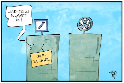 Cartoon: VW-Chefwechsel (medium) by Kostas Koufogiorgos tagged karikatur,koufogiorgos,cartoon,illustration,vw,volkswagen,deutsche,bank,sewing,chef,wechsel,müller,autobauer,wirtschaft,vorstand,konzern,umbau,karikatur,koufogiorgos,cartoon,illustration,vw,volkswagen,deutsche,bank,sewing,chef,wechsel,müller,autobauer,wirtschaft,vorstand,konzern,umbau