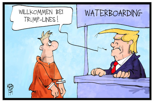 Cartoon: Waterboarding (medium) by Kostas Koufogiorgos tagged karikatur,koufogiorgos,illustration,cartoon,trump,waterboarding,lines,usa,folter,foltermethoden,schiff,linie,reederei,karikatur,koufogiorgos,illustration,cartoon,trump,waterboarding,lines,usa,folter,foltermethoden,schiff,linie,reederei