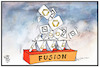 Cartoon: Bankenfusion (small) by Kostas Koufogiorgos tagged karikatur,koufogiorgos,illustration,cartoon,bank,fusion,commerzbank,deutsche,kartenhaus,geldhaus,wirtschaft,einsturz,scheitern