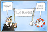 Cartoon: Corona-Lockerungen (small) by Kostas Koufogiorgos tagged karikatur,koufogiorgos,illustration,cartoon,corona,lockerung,virus,pandemie,demo,transparent,hilfe,demonstrant